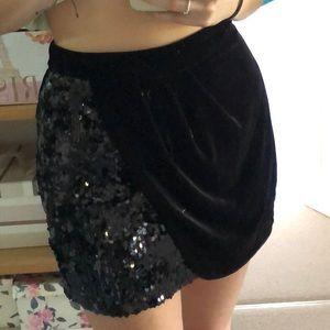 Velvet and sequin wrap skirt